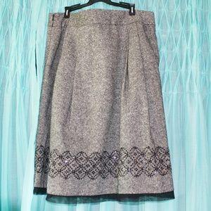 Ann Taylor Loft Gray Wool Skirt Embellishments 12